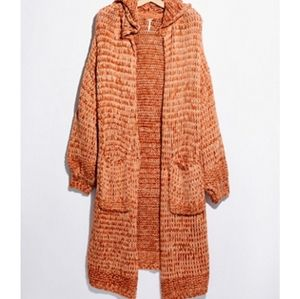 Free People Red Earth Maxi Crofter Cardigan Md NWT